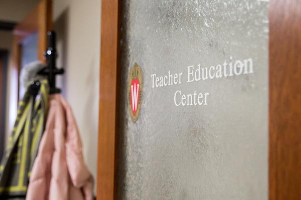 door with text Teacher Education Center
